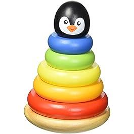 Tooky Toy TKB502 – Pinguino di legno con anelli impilabili per bambini 1 anno