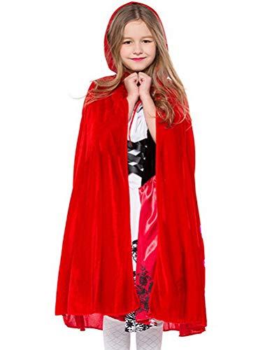 ARAUS Mädchen Kostüm Rotkäppchen Kleid Mit Angenähtem Kapuzenumhang -