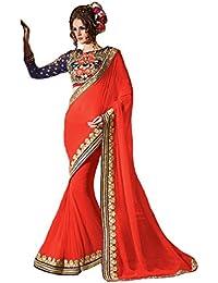 Swara Fashion Women's 60gm Georgette Orange Designer Saree