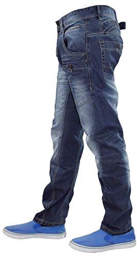 Neue Herren Designer Crosshatch Branded Banana Bein Twisted Engineered Skinny Jeans Dark Wash