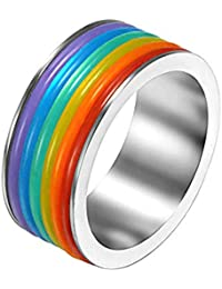 Peora Stainless Steel Gay Pride Engagement Promise Wedding Rainbow Ring for Men and Women