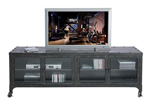 Kare TV Lowboard Factory Metall, 74525, Sideboard im Industrie-Vintage-Look mit Rollen, grau (H/B/T) 56x160x40cm (Sideboard Metall)