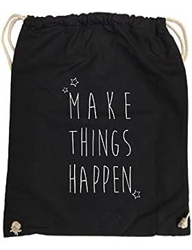 Comedy Bags - MAKE THINGS HAPPEN - hipster Turnbeutel, bedruckter Gymbag aus 100 % Baumwolle, praktischer Sport-Jute-Beutel...