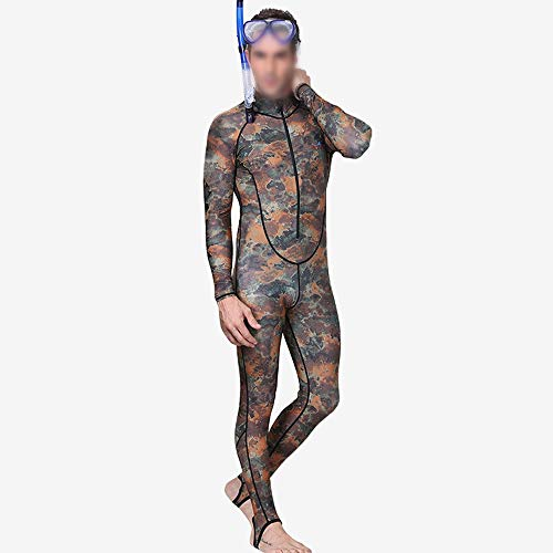 YUMUYMEY Camouflage Taucheranzug Herren Einteiliger Sonnenschutz-Neoprenanzug mit Reißverschluss vorne offener Reißverschluss Badeanzug (Farbe : Camouflage, Size : XXXXL)
