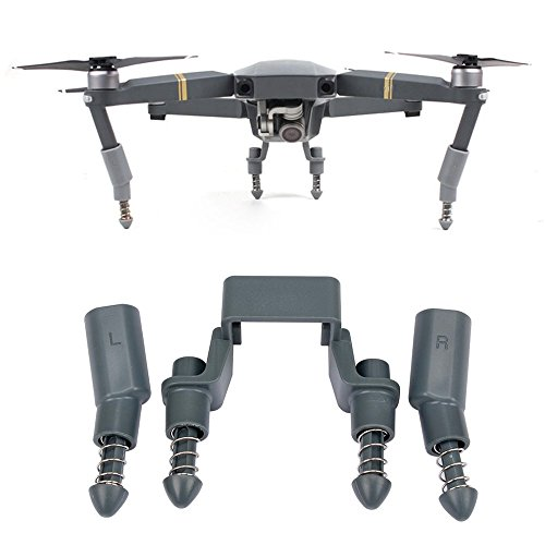 Kidult Extended Landing Gear Support Safe Landing Bracket Protector Guard for DJI Mavic Pro Drone (Spring Absorber - Grey)