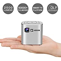 AODIN Fusion Mini Projector, 2500 Lumen LED Smart WiFi Pico Projector with HDMI, USB, Compatible with iPhone, Android, Laptop for Home Entertainment, Outdoor Movies, 120'', Built-in Stereo Speaker - Projeksiyon Cihazı