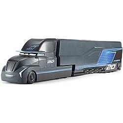 Disney Pixar Cars véhicule Camion Transporteur Jackson Storm noir avec différentes zones de jeu pour voitures, jouet pour enfant, FCW00