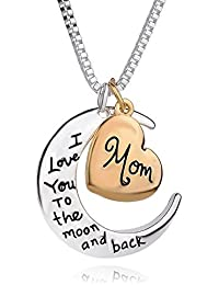 "Satyam Kraft Moon Shape Mother's Day Special ""I LOVE YOU TO THE MOON & BACK ""written Pendant Necklace For Mother..."