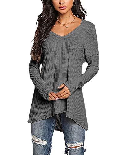 YOINS Pullover Damen Elegante Oberteile Damen Sexy Langarmshirt Blusen Top V-Ausschnitt T-Shirts Dunkelgrau S/EU36-38