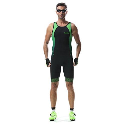 Santic Triathlon Tri Suit ärmellos Herren Skinsuit Swim Bike Run Ironman Racerback, Herren, grün