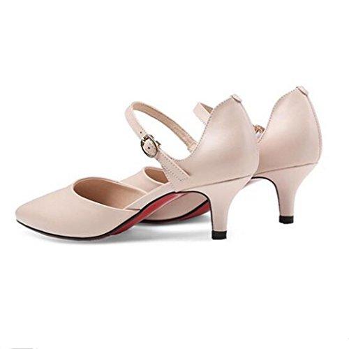 W&LM Pelle di signore Baotou sandali mancia fibbia Nel tallone scarpa Sandali della bocca poco profonda apricot