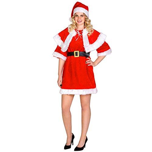 Frauenkostüm sexy Weihnachtsfrau | kurzes Kleid | Cape mit Bindebändern | Schicker Gürtel & Mütze (XXL | Nr. (Santa Kleine Outfit Miss)