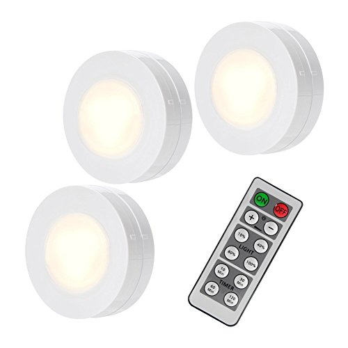 Litake Under Cabinet Lights, Wireless LED Puck Lights Remote Control, 4000K Natural White Brightness Dimmable Battery Powered Touch Closet Cupboard Kitchen Wardrobe Lights, 3 Pack
