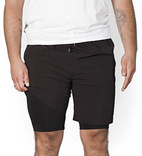RR Sports 2 in 1 Shorts Trainingshose Herren kurz Reißverschluss Gym schwarz (Kompression Shorts Männer Kleine)