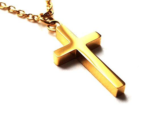Gold Halskette Frauen Kreuz (Mary Grey Edelstahl Kreuz Anhänger Halskette für Frauen - Faith Halskette Schmuck - Gold)