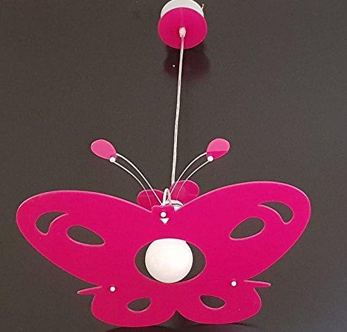 Lampadario moderno in plexiglass farfalla sospensione vari colori per cameretta camera da letto bambini - shape made in italy (glicine lucido)