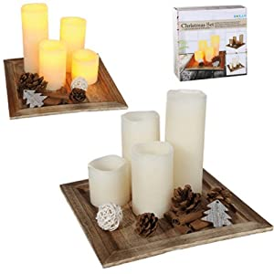 Set Of 4 Led Battery Operated Christmas Candles With Plate and Accessories