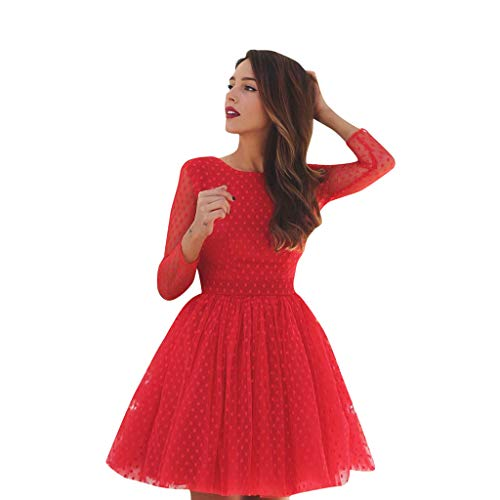 Honestyi Frauen einfarbig Rundhals Langarm Abendgesellschaft Abendkleid offenes Kleid Frauen einfarbig Tutu Neckholder Abendkleid(Rot,XL)