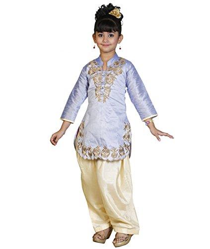 JBN Creation Girls Blue Cotton Silk Salwar Suit (Size: 6-7 Years)