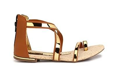 Trilokani womans tan/golden toned sandals