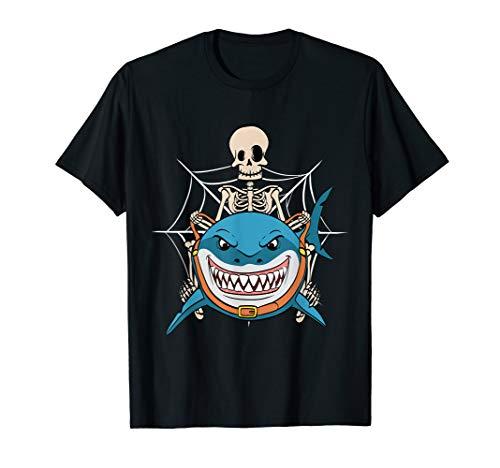 Party Stadt Frauen Kostüm - Skelett reitet auf einem Haifisch Halloween Kostüm Party T-Shirt