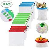 Evecase 12PCS Reusable Mesh Produce Bags with Drawstring Washable Eco Friendly Bags for Grocery Shopping Storage Fruit Vegetable Toys, See-Through, Large, Medium & Small