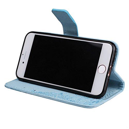 Glitzer funkelt Blumen-Prägeart PU-lederner Fall-Mappen-Beutel-Kasten mit weicher TPU rückseitige Abdeckung u. Lanyard u. Kickstand für iPhone 7 ( Color : Red ) Blue