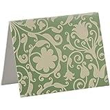 100 Luxury Metallic Green/Ivory Flock Notecards with Matching Envelopes)