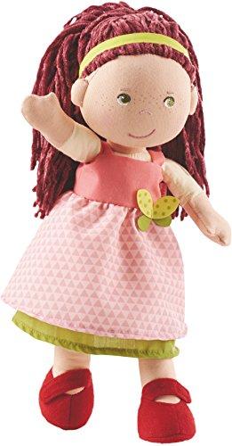 HABA 302841 - Puppe Mona, süße Stoffpuppe mit Kleidung und Haaren, 30 cm, Spielzeug ab 18 Monaten - Gestickt Ersten Geburtstag Kleid