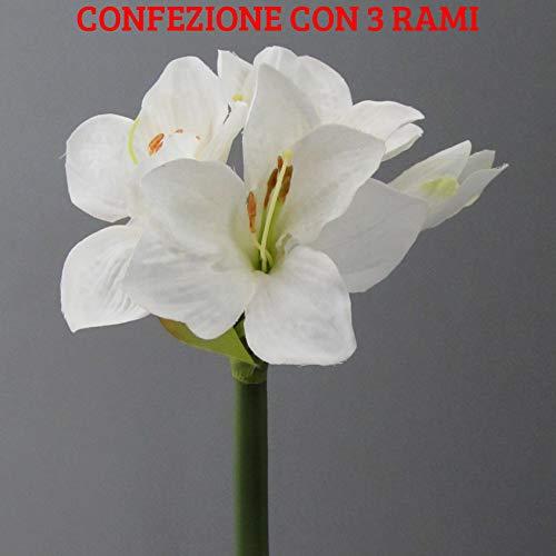 PERAGASHOP 3 Deko-Zweige Amaryllis weiß 30 cm Dekoration Blumen Weihnachten