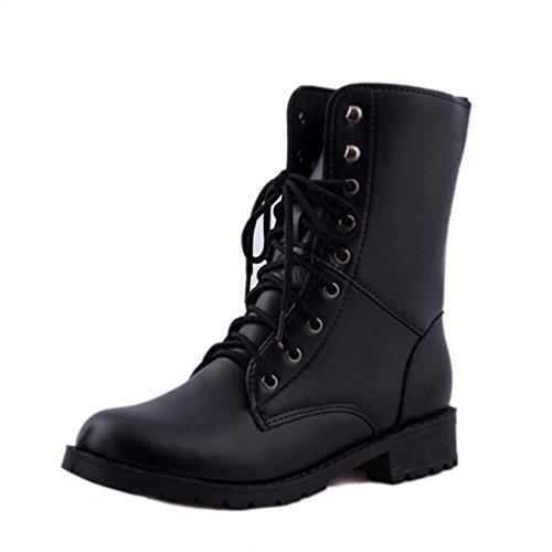 ESAILQ Frauen Lace Up Flat Biker Militärarmee Combat Black Boots Schuhe