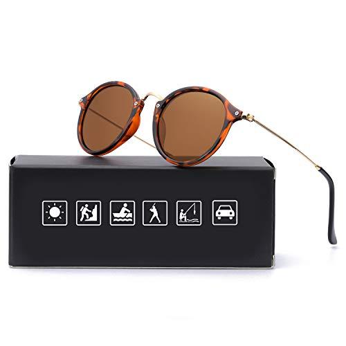 Retro Rund Sonnenbrille Polarisierte Herren, 100% UV 400 Schutz (Braun+Braun)