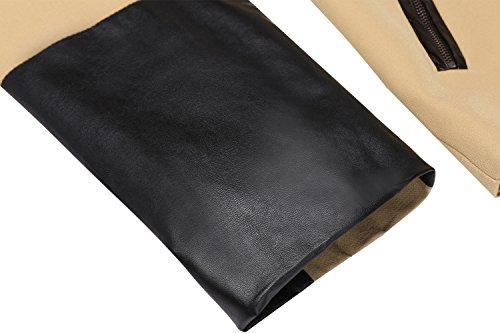 Finejo Damen kragenlos Langarmblazer mit Reißverschlusstaschen Patchworkblazer HerbstJacke Khaki