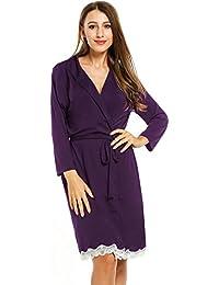 Mujer Camisón Encaje Batas Kimono Algodón Pijama Túnica ...