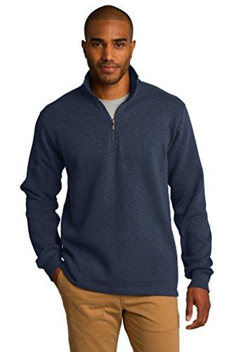 port-authority-mens-textured-cadet-collar-fleece-1-4-zip-pullover-navy-f295-xl