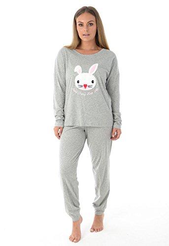 Damen-Langarm-Pyjama-Set Frauen-Baumwoll-Häschen-Druck PJ'S Nachtwäsche (EU38-UK10, Grey) (Set Pj Baumwolle)