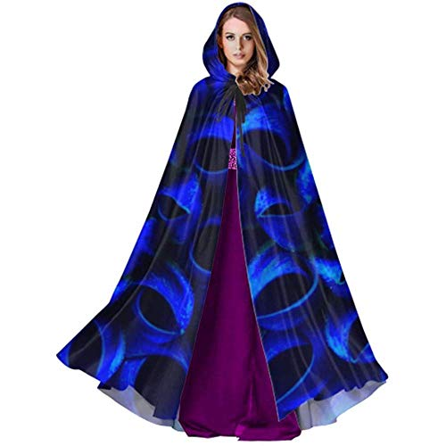 Kostüm Black Dahlia - Black-Sky Blue Flower Petals Dahlia Halloween Umhang Mantel Kostüm für Weihnachten Halloween Cosplay Kostüme