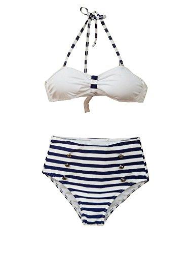 Amour–Retro bañadores trajes de baño Vintage Bandeau Talle Alt