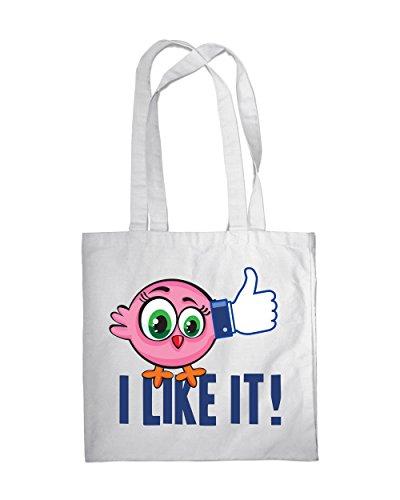Borsa per la spesa, motivo: uccelli, Eco, con scritta I Like It-2-Borsa a tracolla, borsa da spiaggia Multicolore (bianco)