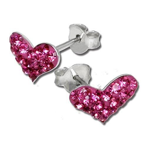 SilberDream Funkeln Bijoux Ohrringe Herzen Hot Pink aus Silber 925mit der Tschechischen Preciosa Kristallen-GSO404P
