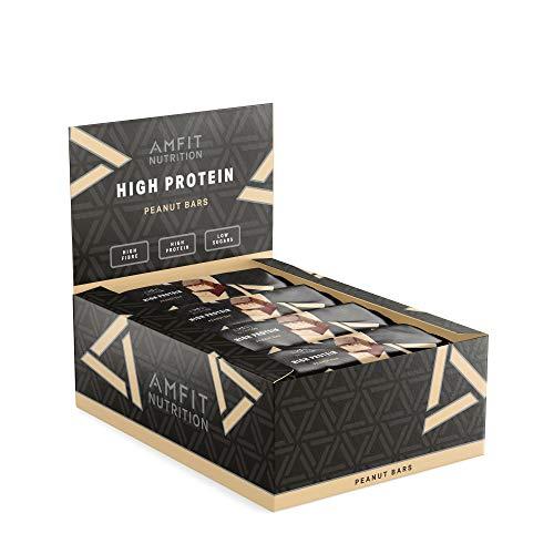 Marca Amazon- Amfit Nutrition Barrita de proteínas sabor cacahuete, pack de 12 (12x60g)