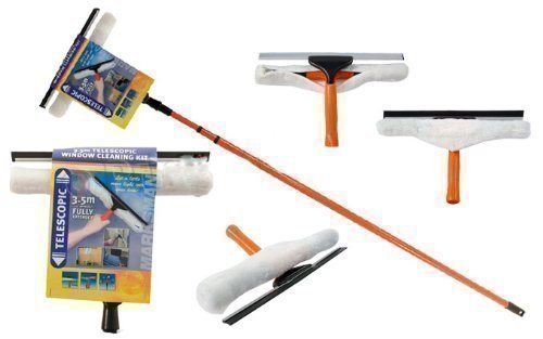 BARGAINS-GALORE® 3.5M TELESCOPIC CONSERVATORY WINDOW GLASS CLEANING CLEANER KIT WITH SQUEEGEE NEW