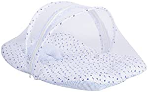 Fareto Unisex Babies Cotton Mosquito Net Bed (White And Blue, 0-6 Months)