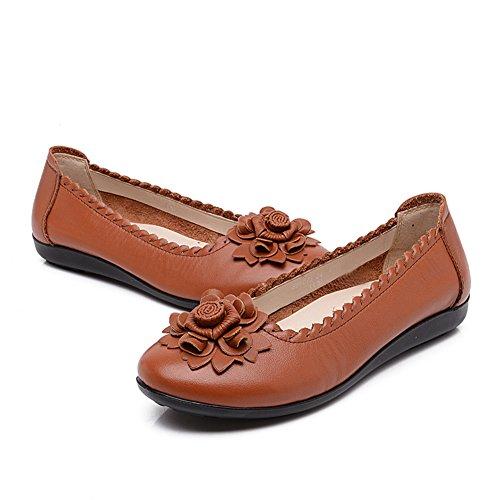 Breve nazionale vento scarpe da donna/Centrale inferiore morbido e scarpe invecchiate donne vecchie/Madre con scarpe piatte/Donne incinte delle donne scarpe-D Lunghezza piede=21.8CM(8.6Inch)