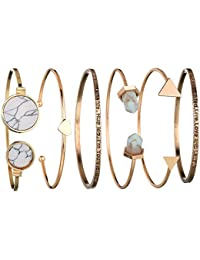 6pcs A Set Heart Letter Cuff Gold-Plated Jewellery Stylish Crystal Multilayer Charm Bracelet For Women & Girls