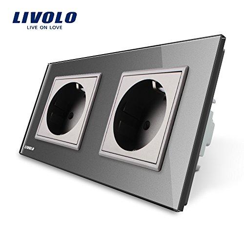 LIVOLO Grau 2 Fach Schuko Steckdose Schutzkontakt mit Kindersicherung Panel aus Kristallglas EU Standard Wandsteckdose,VL-C7C2EU-15-A