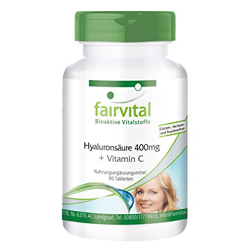 Hyaluronsäure Tabletten 400mg + Vitamin C - HOCHDOSIERT - VEGAN - 90 Tabletten