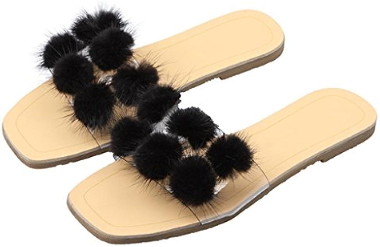 Sandalia Slip-On Para Mujer Con Estilo Zapato Plano Con Correa Transparente Zapatillas En Verano Para Walk Party...
