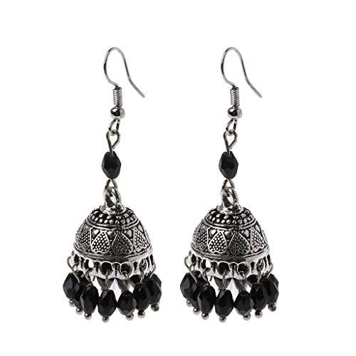 Dabixx retrò gioielli jhumki di cristallo jhumki bollywood jhumki indiani etnici - nero