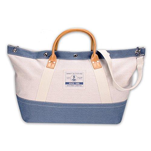 Strandtasche Badetasche Saunatasche Handtasche CasualSpirit XL im Maritim Look beige blau